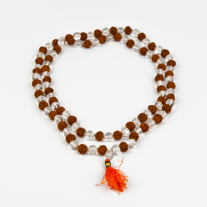 Crystal and Rudraksha Mixed Mala